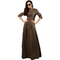 HIGH QUALITY New Fashion 2016 Spring Women S Long Sleeve Elegant Plaid Casual Maxi Long Dress