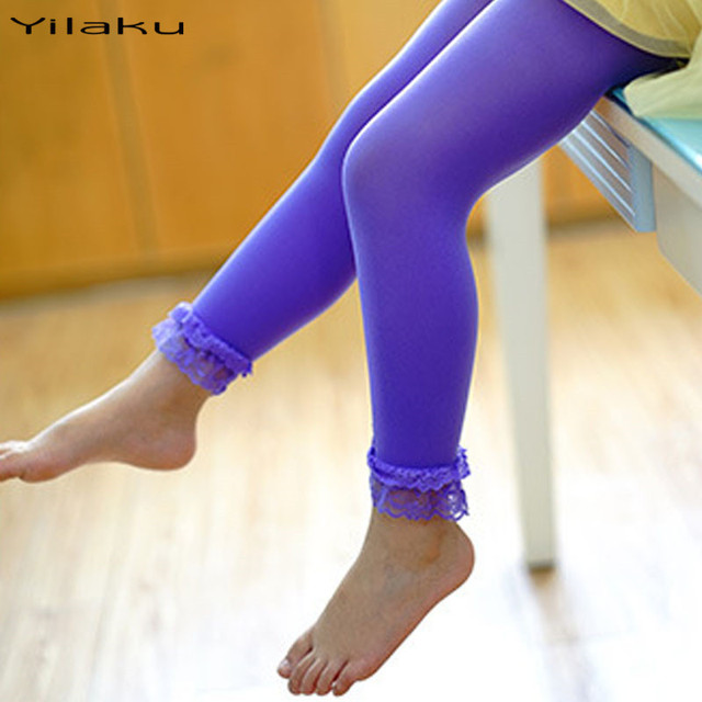 69e123474af695 Yilaku Girls Lace Leggings Short Velvet Cropped Pants Toddler Kids Candy  Color Bottoms For Girl Children's Apparel CI005
