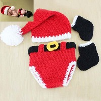 Fashion knit santa claus costume shorts hat and socks crochet newborn santa baby outfit
