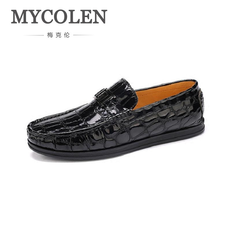 MYCOLEN Exquisite Patterns Patent Leather Men Shoes Spring Summer Wedding And Party Young Loafers Men Flats Mocasines Hombre men loafers paint and rivet design simple eye catching is your good choice in party time wedding and party shoes men flats