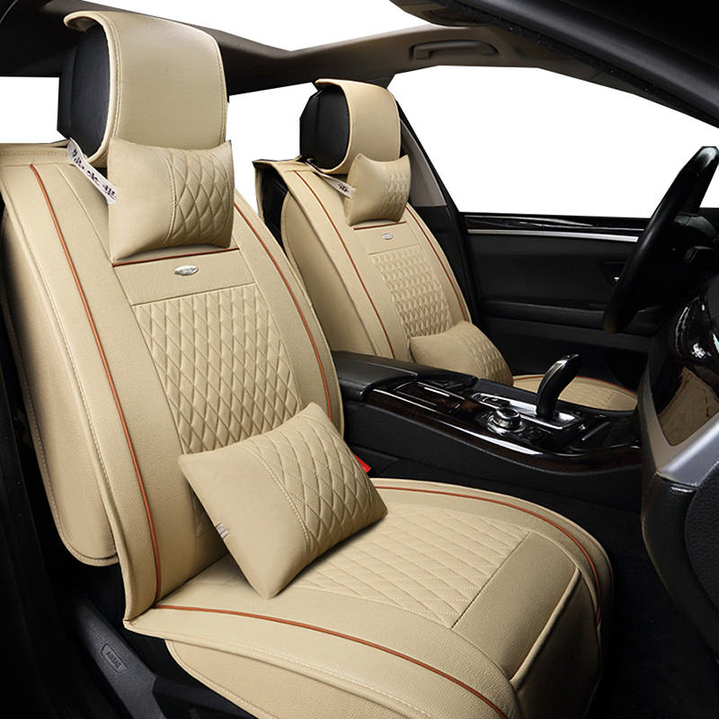 New PU Leather Auto Universal (front+back ) Car Seat Covers for Audi A4 B5 B6 B7 B8 A5 A6 C5 C6 C7 allroad Avant Q5 Q7 styling custom fit full cover car floor mats for audi a6 c5 c6 c7 a4 b6 b7 b8 allroad avant all weather waterproof car styling liners