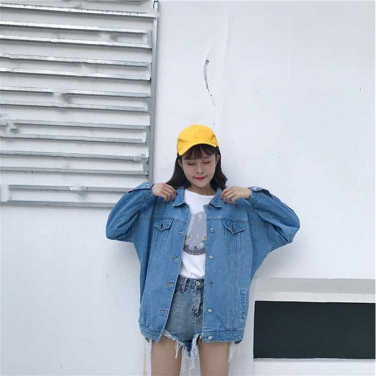 Демисезонный бомбардировщик куртка в уличном стиле Для женщин с длинными рукавами джинсовая короткая верхняя одежда с карманами, Повседневное свободные Однобортный Джинсовое пальто