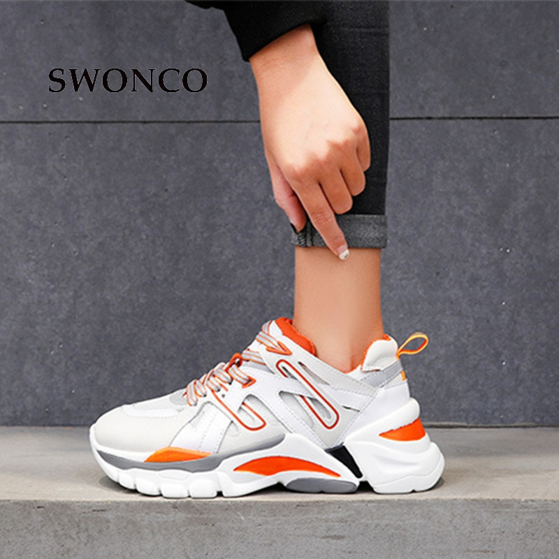SWONCO Baskets femme 2019 Printemps Automne décontracté Chunky Sneakers Pour Les Femmes Blanc/Noir Plateforme Sneaker Chaussures Femme