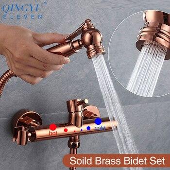 QINGYU ELF soild messing wc bidet sprayer gesetzt Heiße und kalte wasser mixer hygienische hand rose gold bidet dusche wc set