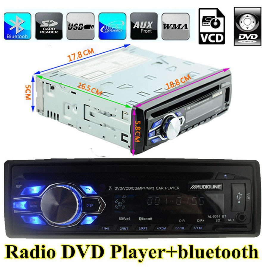 Universal 1 Din Car Radio DVD Player USB SD AUX In Autoradio FM Stereo Music MP3 Audio Bluetooth Subwoofer Auto Radios Charging latest car radio bluetooth stereo player audio dvd mp3 player fm usb radio 1 din remote control 12v auto radios