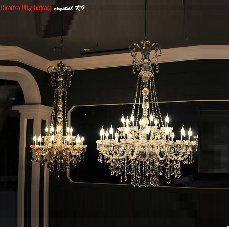 Long stair chandelier crystal large foyer light modern for Modern crystal chandelier for dining room