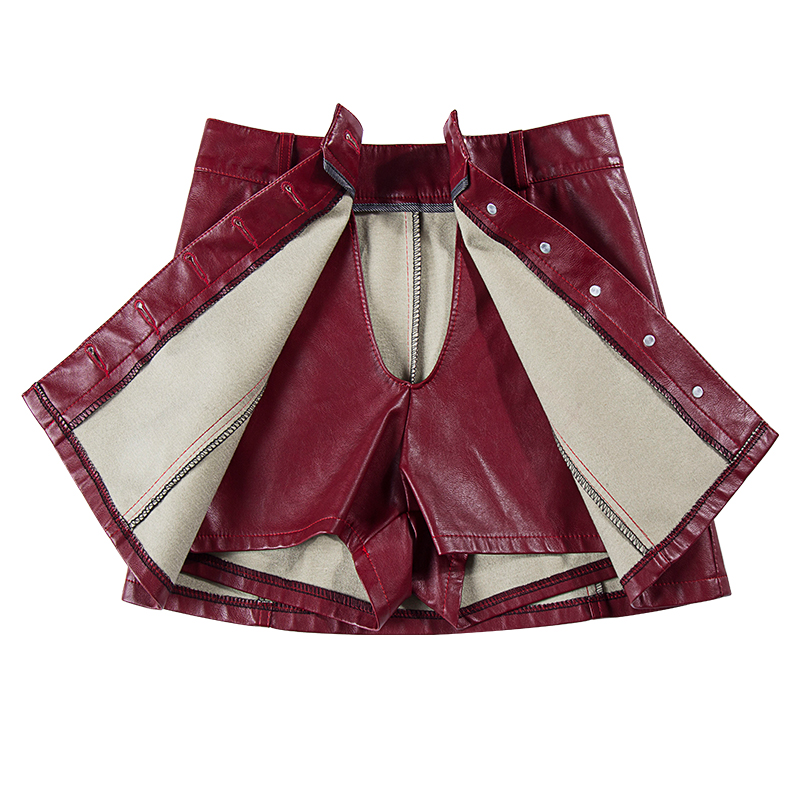 plus size 5XL PU SHIRTS SKIRT autumn winter new fashion temperament PU leather single breasted   shorts   skirts