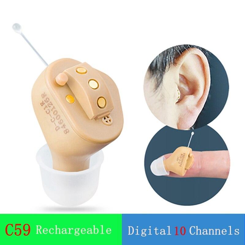 JC59 Rechargeable Invisible complet dans l'oreille aide auditive numérique 10 canaux 12 bandes USB Rechargeable CIC prothèses auditives Dropshipp