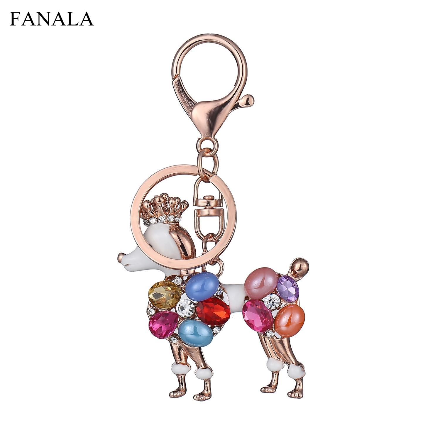 Bag Crystal Ring Colorful Women Charms Gifts Rhinestone Lady Birthday Key Daisies Car Cute Poodle Best for Keychain Dog