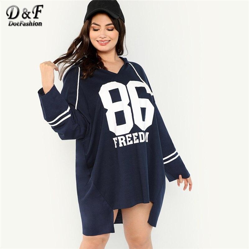 Dotfashion Plus Size Navy Letter And Striped Longline Sweatshirt Women Casual Spring Autumn Hooded Drawstring Preppy Sweatshirt