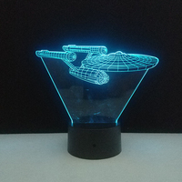3D Star Wars Trek Battleship LED Night Light Touch Switch 7 Color Changing Home Bedroom Decoration