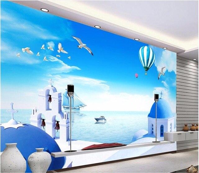 Benutzerdefinierte Mural Foto 3d Wallpaper ägäis Schloss Kirche Luftballons  Zimmer Dekor Malerei 3d Wandbilder Wallpaper Für