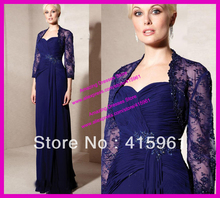 Elegant Purple Beaded Lace Chiffon Mother of the Bride Gowns With Long Sleeve Jacket M1413