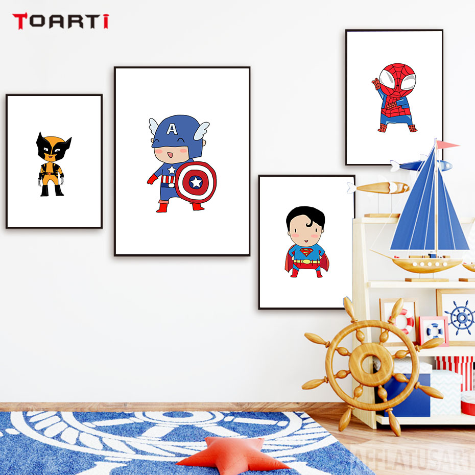 Cartoon Super Hero Nursery Wall Art Canvas Poster And Prints Cartoon Full Set Painting Picture Modern Children Room Decor Gift