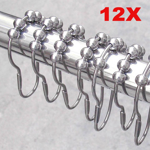 Image 1 - 12pcs Practical Stainless Steel Curtain Hooks Bath Rollerball Shower Curtains Glide Rings Convenient Home Bathroom Accessories