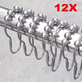 12pcs Practical Stainless Steel Curtain Hooks Bath Rollerball Shower Curtains Glide Rings Convenient Home Bathroom Accessories