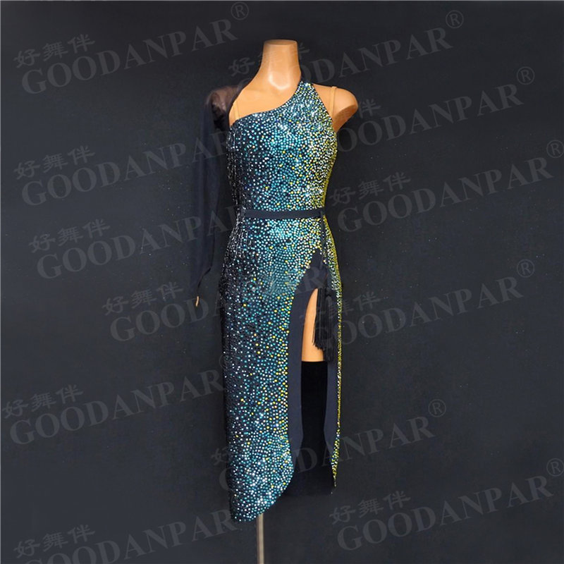 GOODANPAR New Style One Arm Latin Dance Dress Women Girls Fringe Lycra Dance Wear Salsa Samba Rumba Costume With Bodysuit Bra