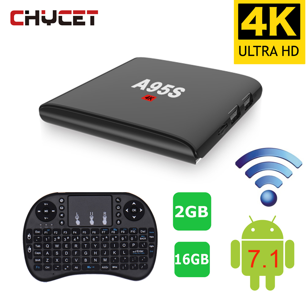 Newest  A95S Android 7.1 TV BOX 2GB RAM 16GB ROM WIFI 100M LAN Smart Android TV Box 4K Support 3D HD Media Player 你好 法语4 学生用书 配cd rom光盘