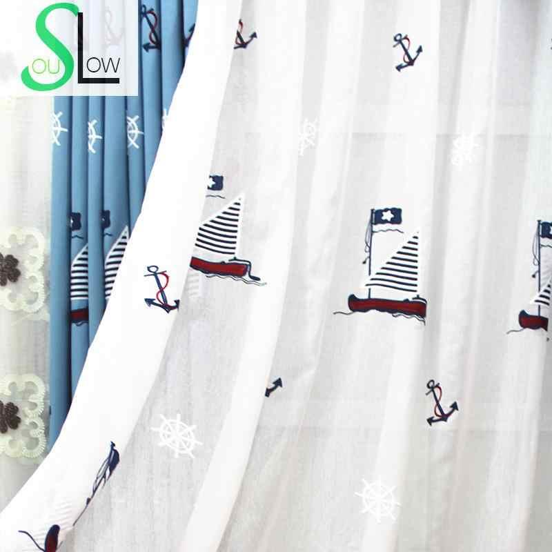 Медленно Soul озеро синий хлопок мультфильм парусный спорт вышитые шторы детская комната дети тюль для гостиной кухня спальня и ребенок