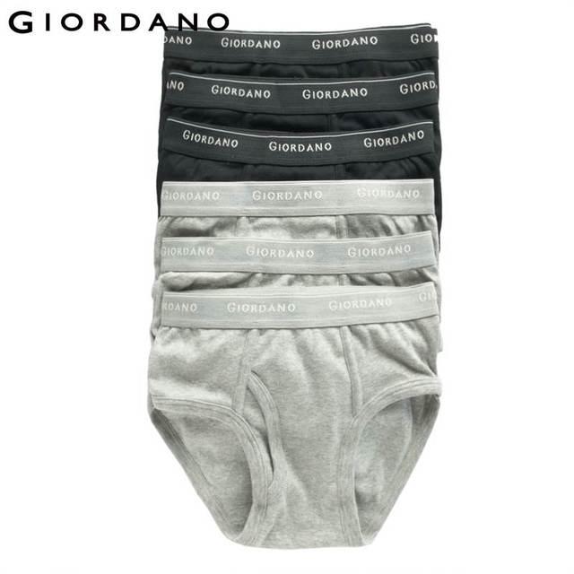 Giordano Men Underwear Brand Mens Underwear Briefs Logo Cotton Briefs for Men Calcinha Calzoncillos Hombre Male Penis(6pcs-pack)
