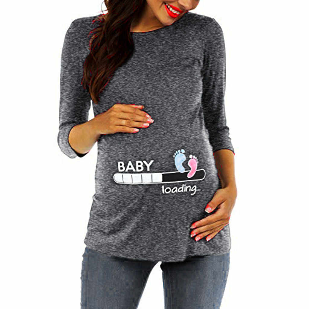 Pregnancy T Shirt Women Three Quarter Sleeve Cartoon Tops Maternity Moletom Feminino Inverno Maternity Shirt Ropa Lactancia