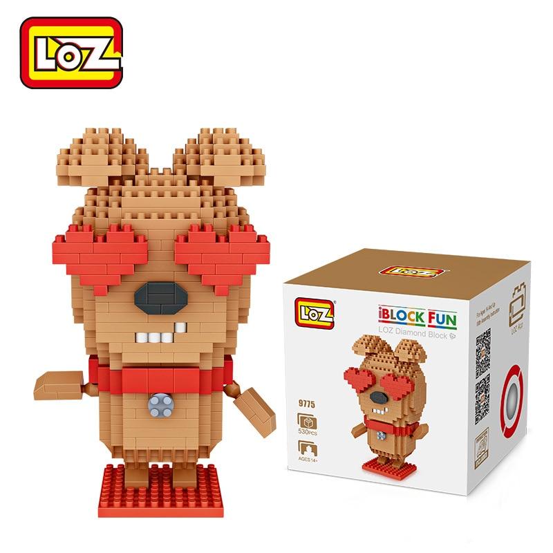 loz diamant blocs amour chien de bande dessinee animaux iblock fun anime figure en plastique