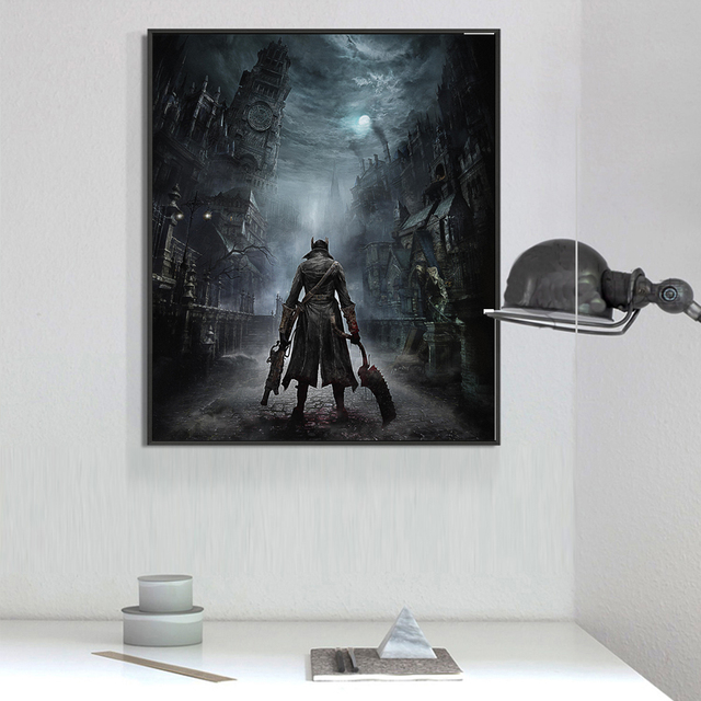 Bloodborne Art Poster Print Game Hunter Canvas Painting Picture for Living Room Wall Decoration Modern Abstract Canvas Paintings 2