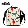 Dispalang cute sika deer 3D print insulated children lunch bag portable lunch cooler bag thermal shoulder lunchbox for men women
