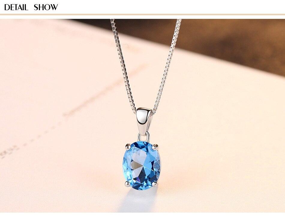 Collier pendentif en argent sterling S925 bleu ciel topaze collier en argent sterling pour femmes G05