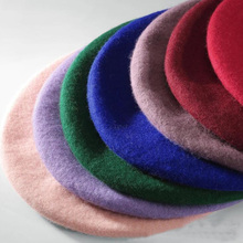 High Quality 100% Pure Wool Women Knit Beret Winter Warm Female British Style Lady Painter Bonnet Hats Solid Color Wholesale Hot