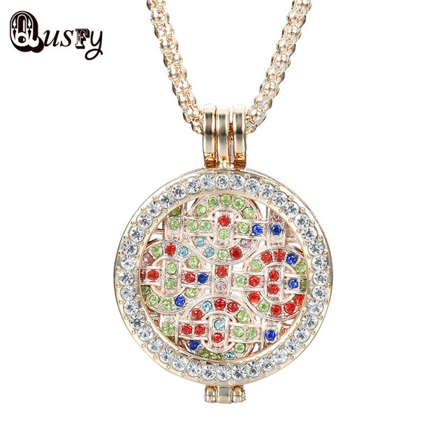 Qusfy 2017 new design multi color crystal round necklace coin holder qusfy 2017 new design multi color crystal round necklace coin holder pendant for women gifts aloadofball Gallery