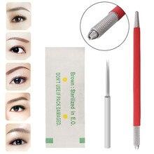 Microblading Permanent Manual Eyebrow Tattoo Pen + 50pcs 3R Blade Tattoo Needles Makeup Tattoos Kit
