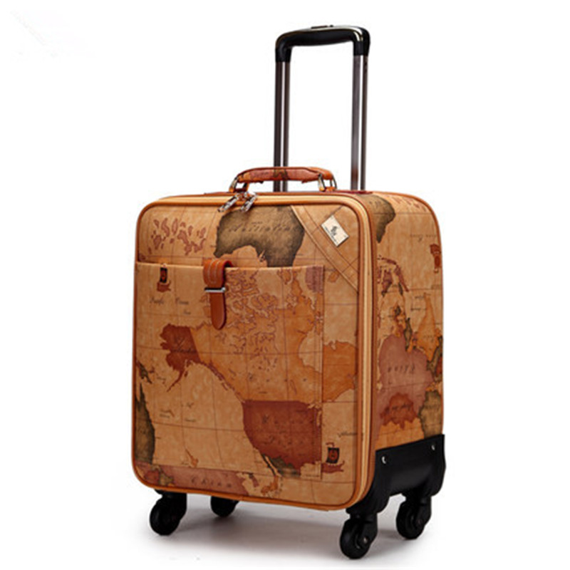 1pc 16 18 20 inch Map Printing Suitcase on Wheels Leather Travel Bag Trolley Board Chassis World Map luggage stylish hemming wide striped and world map printing voile scarf for women