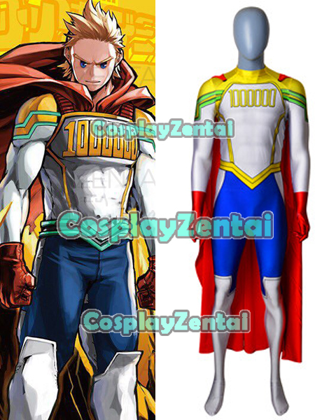Newest Lemillilon Mirio Togata 3D Print Spandex Zentai Suit Lemillilon Mirio Cosplay Costume with Cape Hot Sale Freeshipping