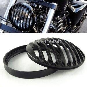 """Image 1 - 5 3/4 """"Kütük Alüminyum Ön Motosiklet Far ızgara kapağı için Harley Davidson Sportster XL 1200 883 04 ~ 14 Kafa aydınlatma koruması"""