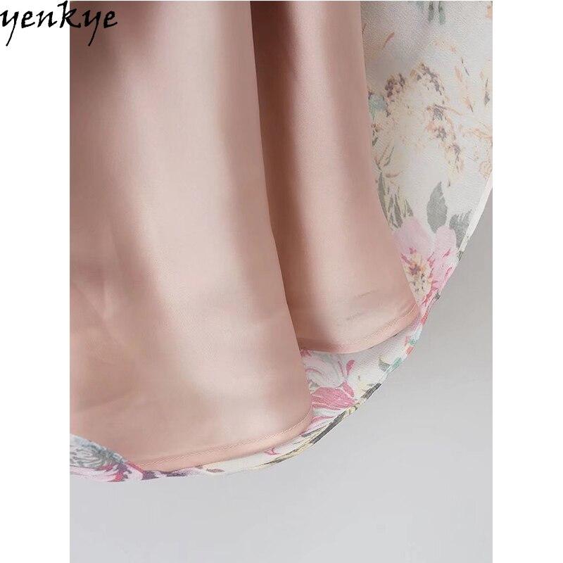 9d913cd81c Sukienka jesienna szyfonu słodkie kobiety O Neck z długim rękawem kwiatowy sukienka  elastyczny pas dorywczo Midi sukienka marki Vestidos Mujer XDWM375 w ...