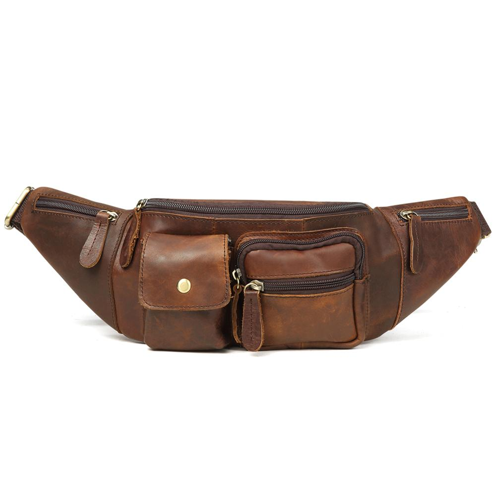 Wholesale New Arrival Genuine Leather Chest Bags Leather Bag Belt Men Phone Pouch Bags Travel Waist