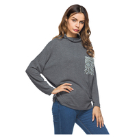 Le donne di Nuovo Modo Paillettes Tasca Manica A Pipistrello T Shirt Primavera Autunno Parti Superiori Casuali Tees Femminile Dolcevita A Maniche Lunghe T-Shirt