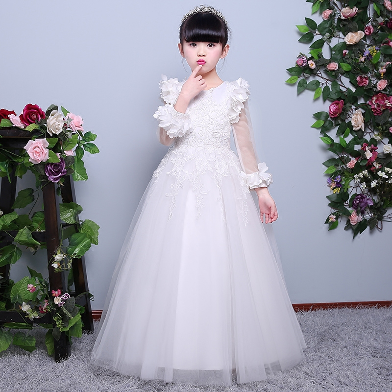 2017 New Luxury Sweet Jacquard Lace Girls Princess Long Sleeves Dresses For Wedding Birthday Party Spring Kids White Color Dress 2017 new high quality girls children white color princess dress kids baby birthday wedding party lace dress with bow knot design