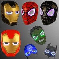 LED Glowing Superhero Children Mask Spiderman Iron Man Hulk Batman Party Cartoon Movie Mask For Children