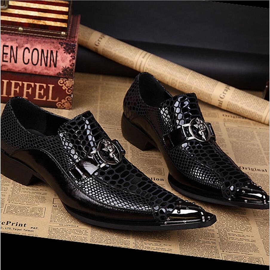 2017 Schwarz Krokodil Spitzen Korean Business Männer Schuh Chaussure Homme Stylist Luxury Britischen Leder Increasd Kleid Punk Fashion YgcUw