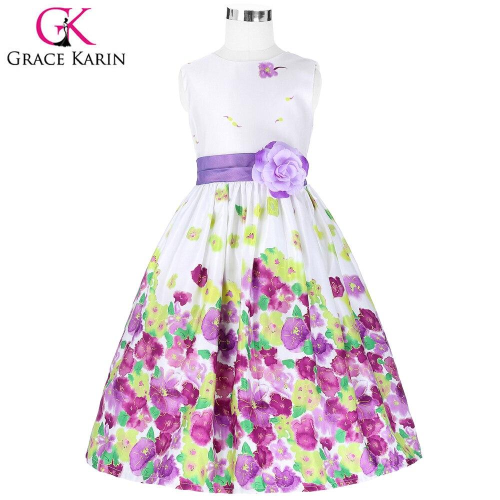 Grace Karin Lavender Floral Pattern Flower Girl Dresses Ball Gowns ...