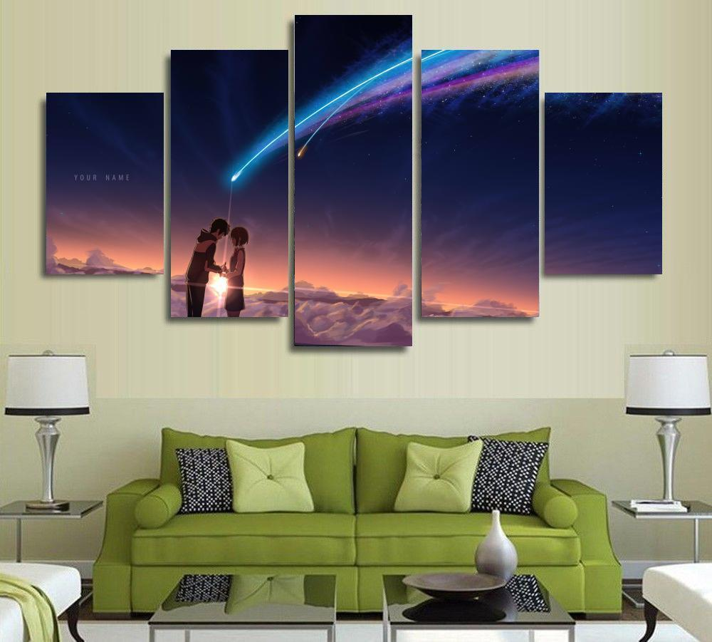 5 panels wall art your name kimi no na wa paintings art canvas paintings poster your name film poster painting no frame