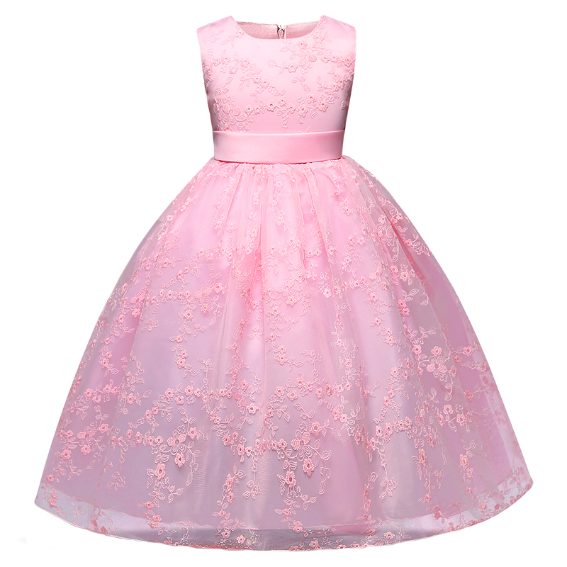 4 Colors Girls Long Dress Children Lace Princess Solid Color Dress for Party Wedding Flower Girls Baby Toddler Kids Brands kids girls lace princess dress children party dress for wedding baby girl clothes toddler solid color costume robe file vestidos