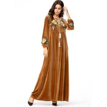 bce9f0b7966b73a Vestido Абая для женщин 2019 ОАЭ Катара мусульманское бархатное Длинное  Платье женское кафтан abaya Musulmane Дубай женское платье макси Одежда