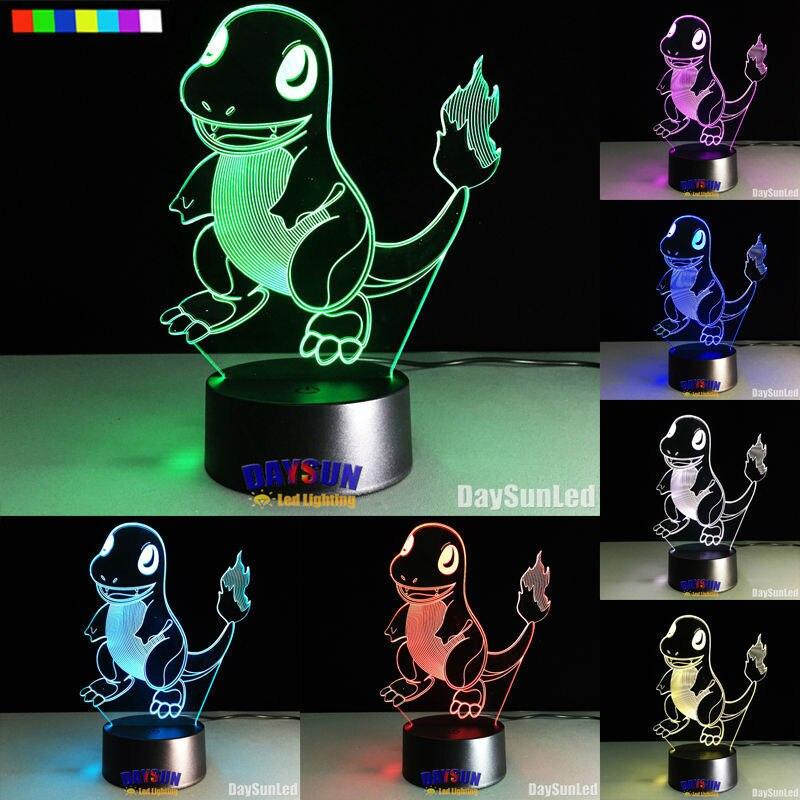 Amazing Led Light Lamp Led Lamp Pocket Series Small Dragon 7 Colors 3D Led Night Light All Colors Flash In Turn