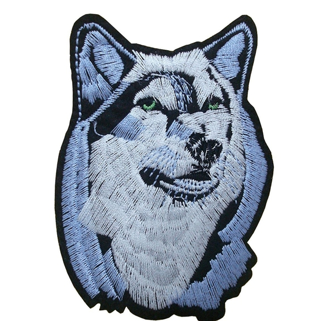 5466e685c7e6c US $1.79 |1Pcs Husky Dog Wolf Patch Embroidered Iron On Patches Fabric  Sewing On Applique for Jacket Clothes Badge DIY Apparel-in Patches from  Home & ...