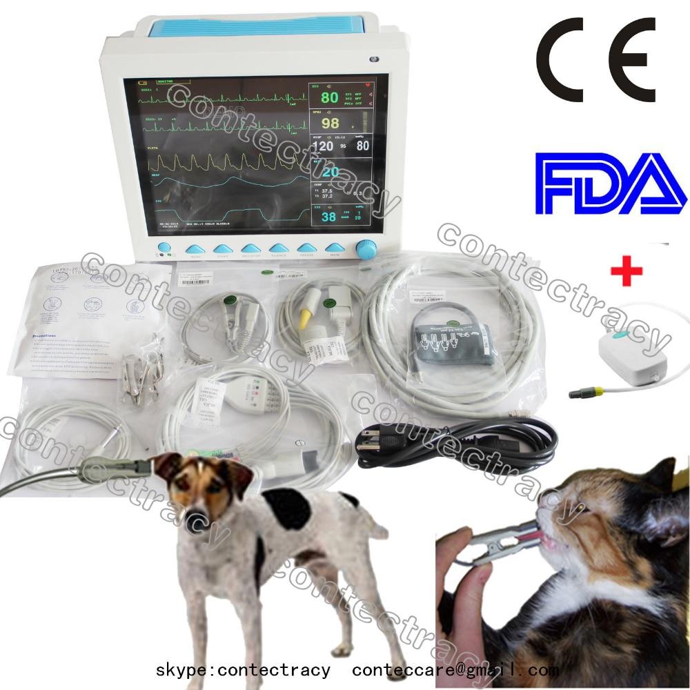 CE Animal Veterinary Vet patient Monitor ECG NIBP SPO2 TEMP RESP PR,Free EtCo2