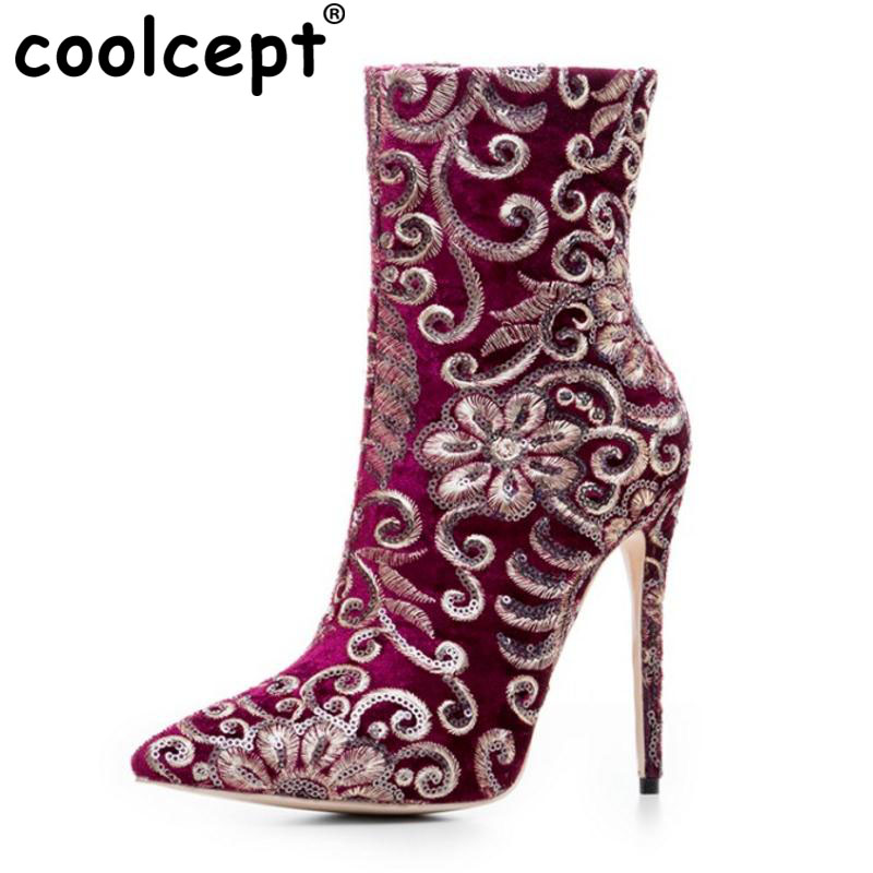 Coolcept Size 33-43 Women High Heels Mid Calf High Heel Boots Embroider Thin Heels Boots Autumn Shoes For Woman Footwears spring autumn women thick high heel mid calf boots platform woman short boots high heels shoes botas plus size 34 40 41 42 43