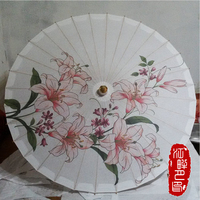 Fresh Lily Flower Married Painted Paper Parasol Spring time Cosplay Paper Umbrella Pure White Color Hanging Decor Kid Dance Play
